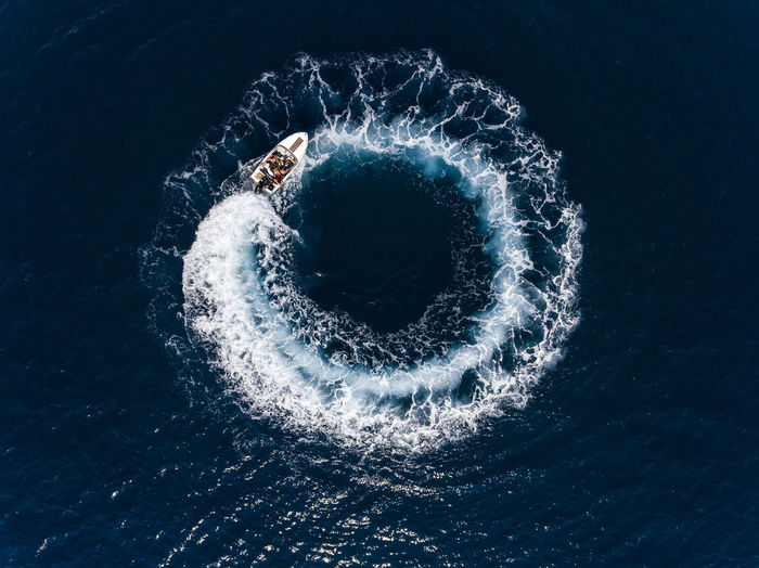 High angle view of boat on sea