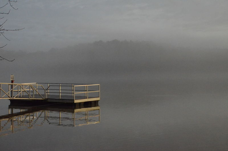 Fog Water Beauty In Nature Nature Tranquil Scene Tranquility Sky Waterfront Scenics - Nature Architecture No People Day Non-urban Scene Outdoors Built Structure Diving Platform Lake Power In Nature New Years Day 2019