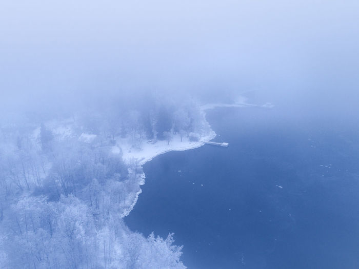 Aerial view of sea and forest during winter