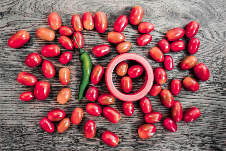 High Angle View Of Fruits And Chili Pepper On Table