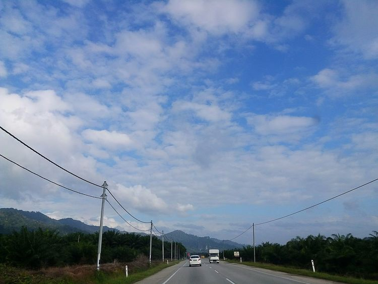 Journey, Journey To Work Journey To Raub Road Sky Blue Sky Back Home ♥ Sky And Clouds Skylove Bright Day Bright And Beautiful Clouds And Sky Clouds Lovers Cloud - Sky Transportation Sky Connection Outdoors Cable Road