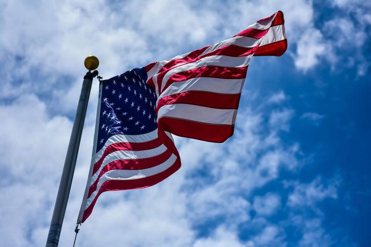 Stars And Stripes Blue Patriotism Flag Cultures Striped Sky Cloud - Sky