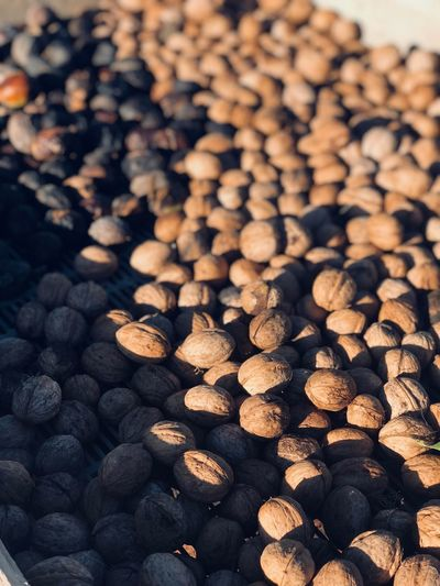 Full frame shot of walnuts in market for sale