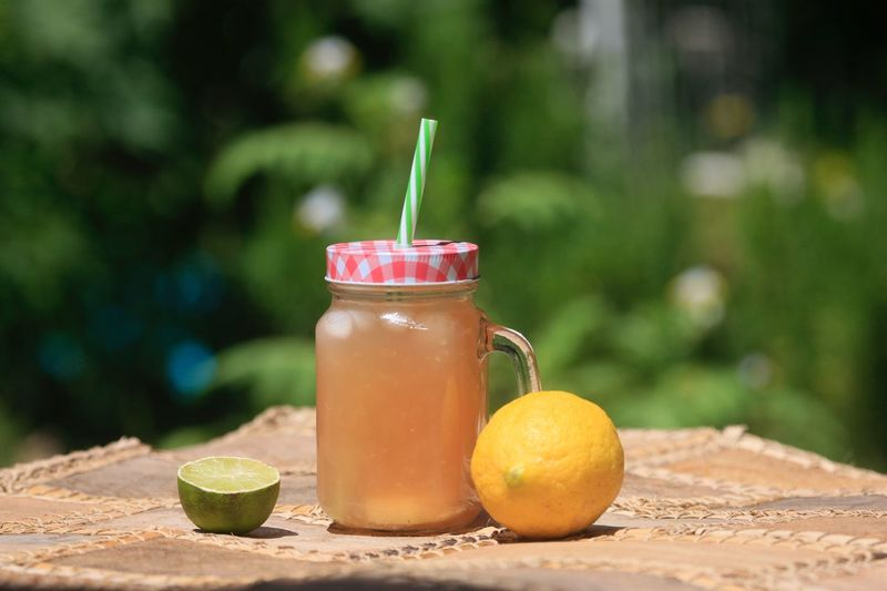 Drinking Straw Drink Food And Drink Table Healthy Eating Drinking Glass Freshness Refreshment Focus On Foreground Fruit Outdoors No People Jar Day Food Citrus Fruit Close-up Smoothie Blended Drink Nature Icetea Eistee Limonade Lemonade Cocktail