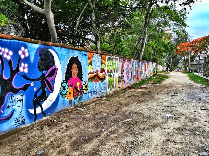 Graffiti Art And Craft Street Art Creativity Outdoors Built Structure Multi Colored One Person Full Length Tree Architecture Huawei Huaweimate9