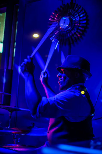 Chase Park Plaza has plenty to do, including always something happening at night! Blue Motion Drummer Drums Live Music Bar Chase Park Plaza Club Hotel Bar Indoors  Night Nightlife Scene