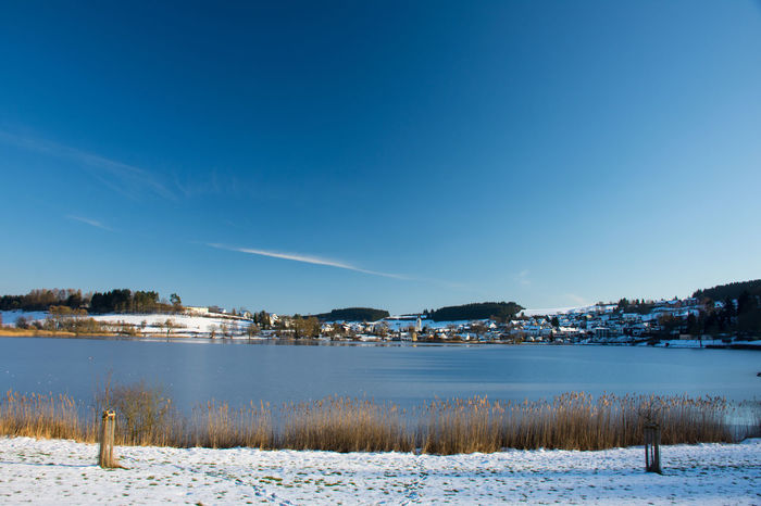 Eifel Germany Schalkenmehren Schalkenmehrener Maar Beauty In Nature Clear Sky Cold Temperature Eifel Frozen Germany Lake Landscape Nature Outdoors Rhineland-palatinate Scenics Snow Tranquil Scene Tranquility Winter