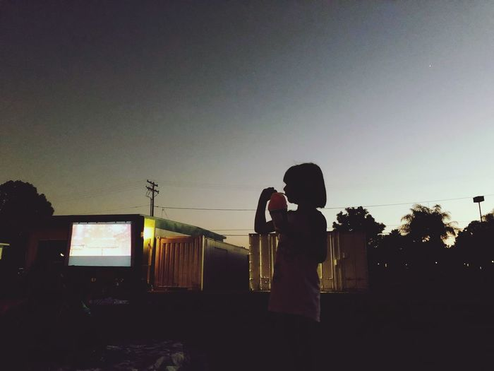 Movie summer nights with shaved ice treat! Sky Silhouette Real People Two People Sunset Lifestyles Summer In The City Love People Standing Togetherness Men Adult Architecture Women Outdoors Leisure Activity Bonding Nature Child Females