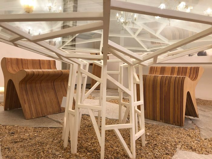 Indoors  Chair No People Seat Table Architecture Home Interior Furniture Built Structure Wood - Material Wicker Art And Craft Still Life Textile Empty Day Container Domestic Room Building Pattern