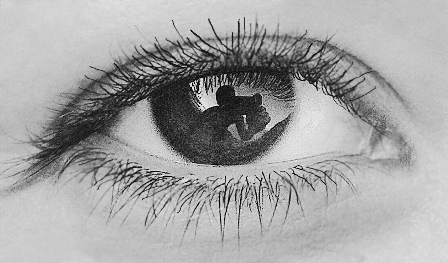 Black And White Eyes IPhone Reflection