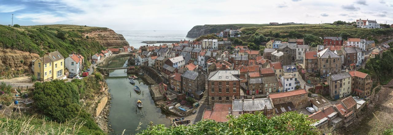 Panorama of Staithes Village Water North Yorkshire Staithes Panorama Sky Building Exterior Architecture Cloud - Sky Shore Coast Sea Coastline Rocky Coastline Seascape Horizon Over Water Ocean Beach Calm