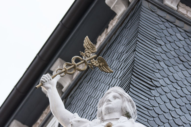 Representation Architecture Art And Craft Human Representation Sculpture Low Angle View Built Structure Statue Religion Building Exterior Male Likeness Creativity Belief Craft Spirituality Day No People Female Likeness Building Angel Ilmenau