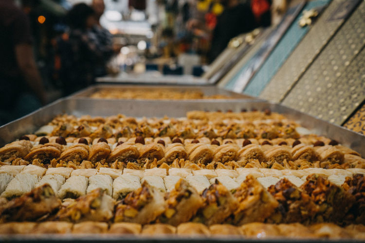 Various pastries for sale in market