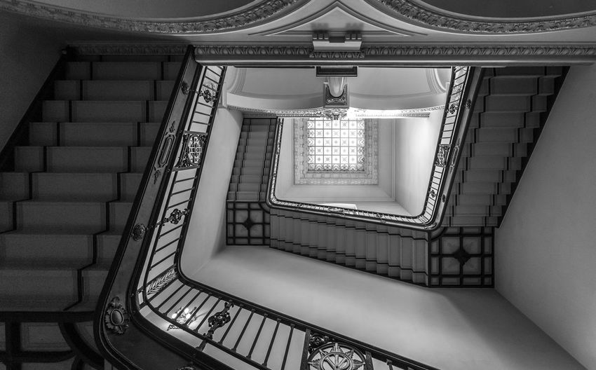 Black And White Architecture Best Of Stairways Railing Historic Old Staircase Steps And Staircases Built Structure Indoors  Spiral No People Spiral Staircase Low Angle View Pattern Building Diminishing Perspective Day Empty Repetition Directly Below Design Absence Ornate