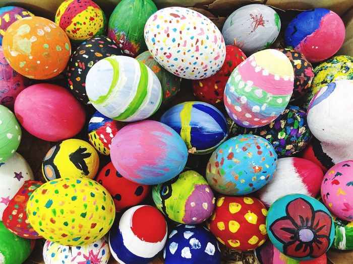 Colorful hand made Easter eggs Handmade Coloring Multi Colored Easter Easter Egg Celebration Paint Tradition No People Backgrounds Close-up