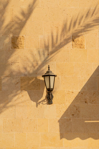 Shadows from palm trees on the light walls of a building with lantern. sunny day, travel lifestyle.