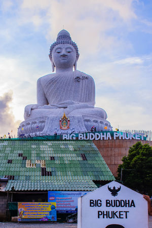 Amazing Massive white marble Buddha statue, the famous tourist attraction on top of hill in Phuket, Thailand. Big Buddha Marble Statue Massive Stone Buddha Architecture Big Buddha Temple Big Buddha Statue Big Buddha, Thailand Cloud - Sky Day Giant Buddha Human Representation Low Angle View Male Likeness Marble Buddha Marble Stone No People Outdoors Sculpture Sky Spirituality Statue Text Worship Places