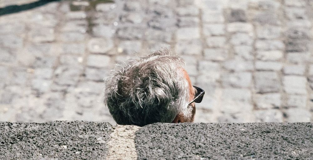 Day Outdoors One Person Close-up Sun Sunglasses Gray Hair Man Stone Sunbathing Holiday Vacations