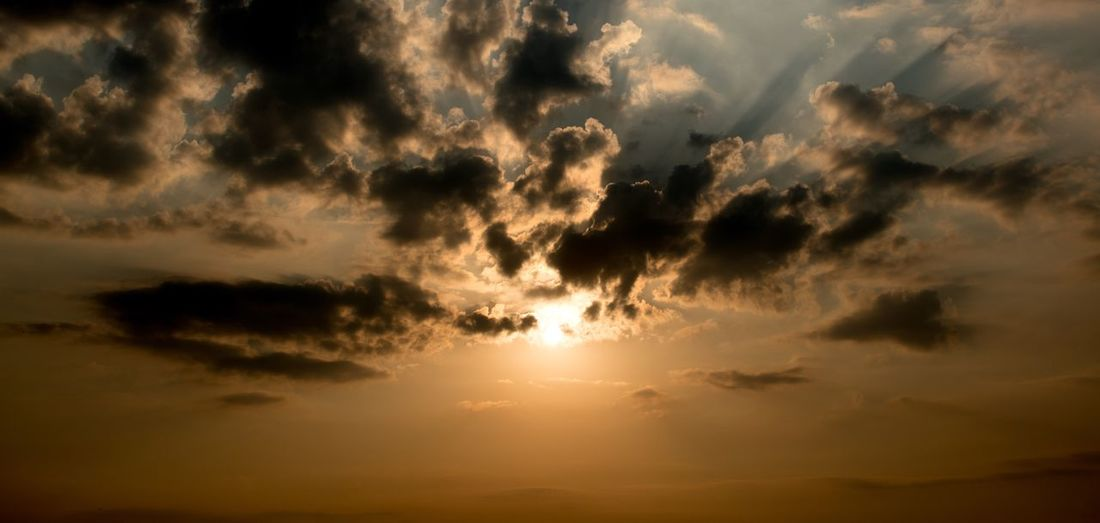 Sky Cloud - Sky Sunset Beauty In Nature Tranquility Scenics - Nature Sun No People Nature Sunlight Dramatic Sky Low Angle View Tranquil Scene Idyllic Cloudscape Outdoors Awe Atmospheric Mood Orange Color Dark