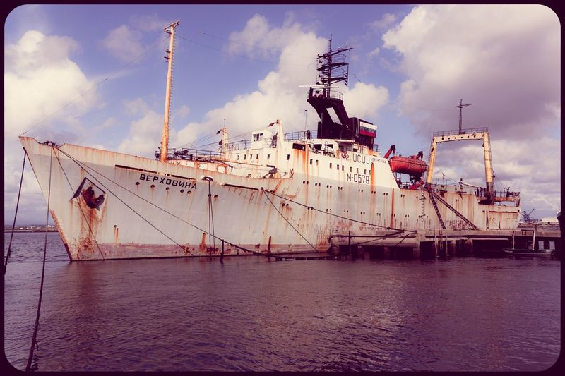 Abandoned ship. Nautical Vessel Transportation Mode Of Transport Water Waterfront Ship Cloud Harbor