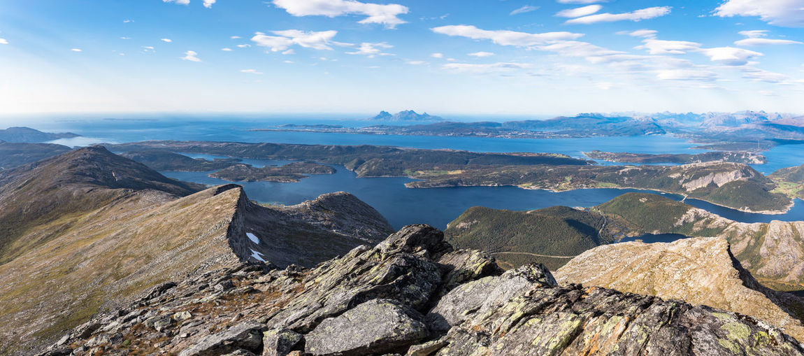 Cloud Freedom Hiking Nature Northern Norway Norway Panoramic Rock Formation Vacations Adventure Beauty In Nature Bodø Climbing Fjord Landscape Lofoten Mountain Mountain Peak Mountain Range Nordland County Scenics Sea Summit View Sunbeam Water