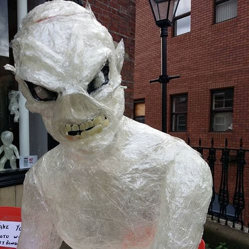 A life size Eddie made out of sellotape Stockport Artism Ironmaiden Ironmaidenbeer