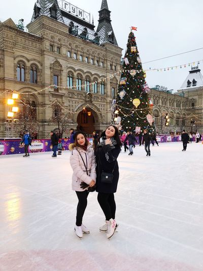 Red Square Russia Moscow Architecture Winter Christmas Tree Built Structure Building Exterior Ice-skating Full Length Christmas Leisure Activity Large Group Of People Ice Rink Cold Temperature Christmas Decoration Togetherness Lifestyles City Warm Clothing Tree Young Women