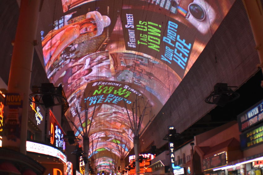 Freemont Street Experience City Neon Illuminated Market Communication Cultures Architecture Summer Exploratorium