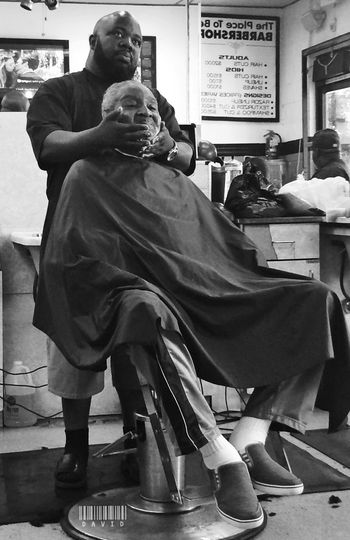 Pops getting a shave. Haircut Barbershop Black And White Candid