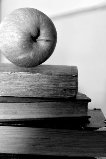 Close-up of apple on wooden table