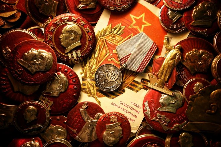 Former Soviet Union Communism Badge Red Large Group Of Objects Close-up