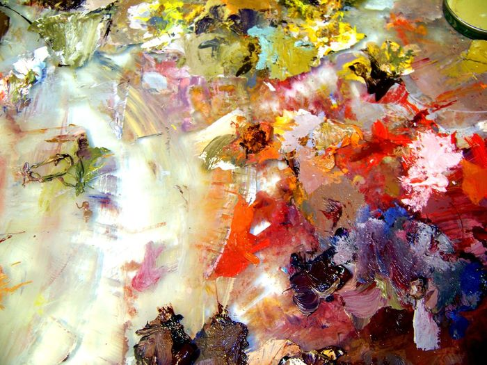 An artists paint palette is art in itself. Abstract Abstractart Abstractions In Colors Art Artist Creating Art... Creative Full Frame High Angle View Multi Colored Multicolors  No People Paint Paint Palette Painting Textured  Unexpected Art Unexpected Beauty