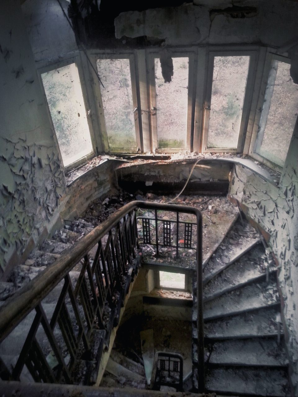 High Angle View Of Staircase In Abandoned Building