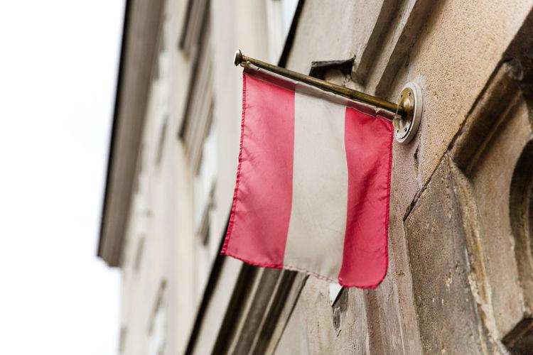 Austria Austrian Flag Façade Red Facade Building Flag Red White Red Selective Focus