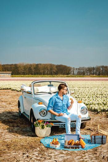 Tulips Hyacinth Lisse  Noordwijk Colourful Netherlands Mensfashion Flowerporn Flower Field Men Man Picknick Flowers Spring Dutch Holland Vintage Full Length Men Sitting Clear Sky Sand Arid Climate Blue Standing Car Beach Vintage Car Parking Arid Landscape