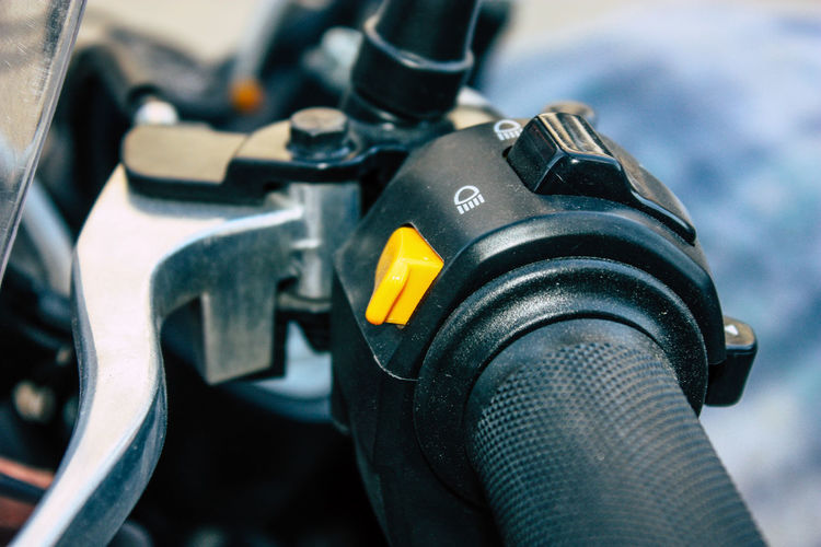 Close-up of motorcycle handlebar