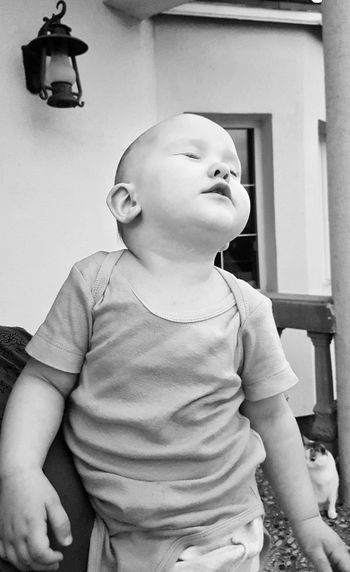First rain Baby Raindropsonmyface Portrait Cute Eyesshut Curiosity Enjoying The Moment Intense Moment Blackandwhitephotography EyeEmNewHere PhonePhotography Wow That's So Cool !! Sophisticated Black And White Toddler  Babyface Baby Expression First Rain Baby Looking Up Emotional Baby Suggestive Face Baby With Eyes Closed Kids Lifestyle Domestic Life Family Black And White Friday