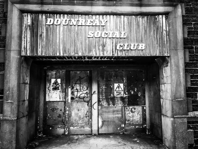 Abandoned Delapidated Blackandwhite Social Club Text Western Script