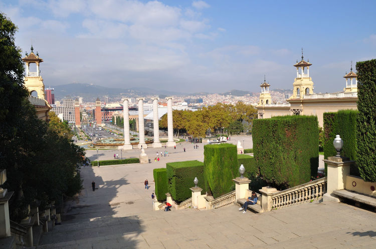 View of buildings in Barcelona Architecture Arrival Building Exterior City Cityscape Day Government Montjuic Montjuic Castle Montjuiccastillo No People Outdoors Place Of Worship Politics And Government Sky Tourism Travel Destinations Tree Urban Skyline