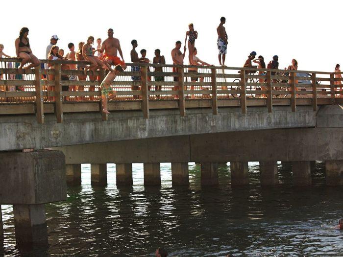 Bridge jumping. State Beach. Oak Bluffs. Martha's Vineyard. Everybody does it. Martha's Vineyard Oak Bluffs, Martha's Vineyard Bridge Jumping Hiddengems