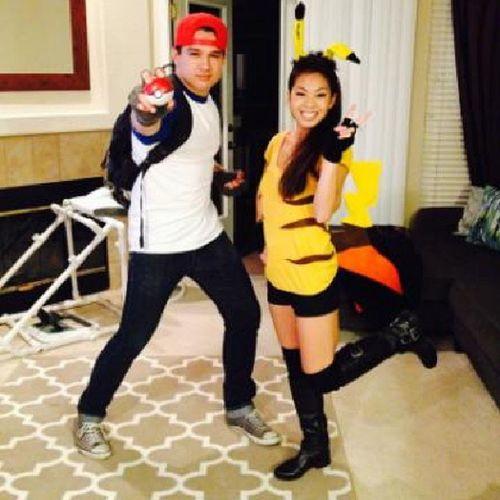 Halloween costumes... Ash and Pikachu! GottaCatchEmAll Buticaughtthebestone LastNight Significantother @ivyg0