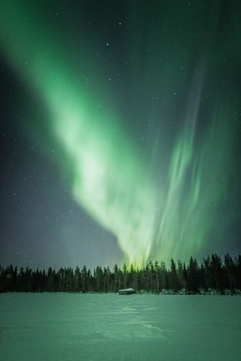 Countryside and night lights Beauty In Nature Night Space Tranquility Sky Astronomy Tranquil Scene Green Color Star - Space No People Nature Winter Cold Temperature Snow Field Barn Northern Lights Aurora Borealis Outdoors Landscape Nature_collection Explore Forest Hello World Taking Photos