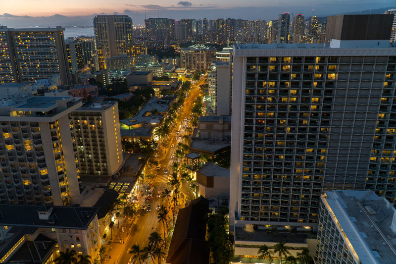 Cityscape City Illuminated Skyscraper Building Exterior Architecture Travel Destinations High Angle View Urban Skyline Modern City Life Sky Downtown District No People Night Kalakaua Ave Honolulu, Hawaii Waikiki Sunset EyeEm Best Edits EyeEm Best Shots First Eyeem Photo EyeEmNewHere Sony A6300 Travel Adapted To The City Flying High The Street Photographer - 2017 EyeEm Awards The Street Photographer - 2017 EyeEm Awards