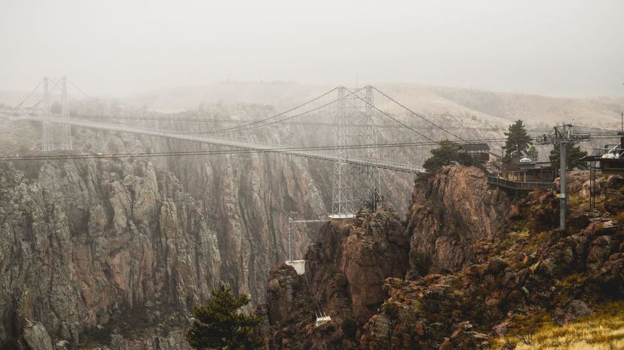 Foggy Morning at the Bridge USA Colorado Royalgorge Tree Plant Nature Fog Sky Built Structure Architecture No People Landscape Winter Beauty In Nature Tranquility Cold Temperature Environment Outdoors Tranquil Scene