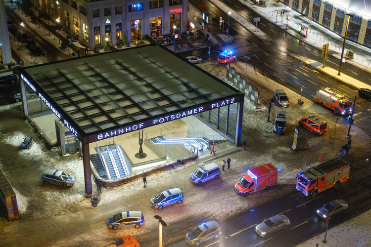 Emergency services at Potsdamer Platz, Berlin, Germany. Aerial View Bahnhof Potsdamer Platz Berlin Dark Emergency Services Firefighters Germany Night Police Potsdamer Platz Winter