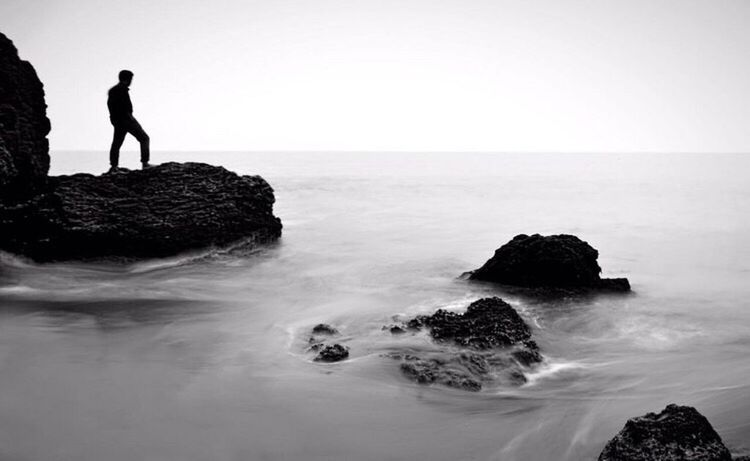 The perfect silhouette! Sea Horizon Over Water Rock - Object Nature Outdoors Water One Person Landscape Travel Kerala Silhouette And Sky
