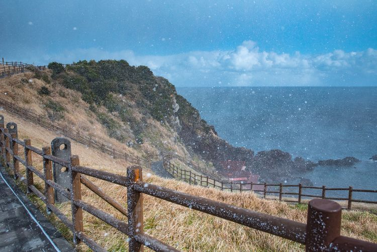 Sea Railing Sky Nature Scenics Beauty In Nature Horizon Over Water Water Cloud - Sky Outdoors Day Landscape