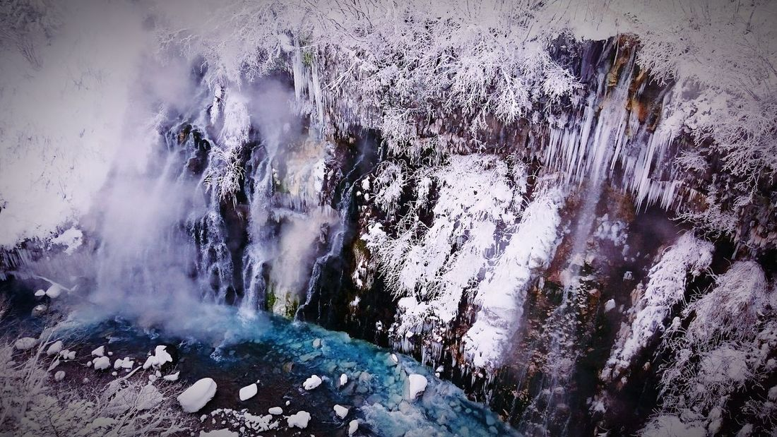 Japan Hokkaido Biei Snow Blue Waterfall Winter Frozen Frozen Waterfall Frozen Nature Frozen River Nature Photography Nature Nature_collection