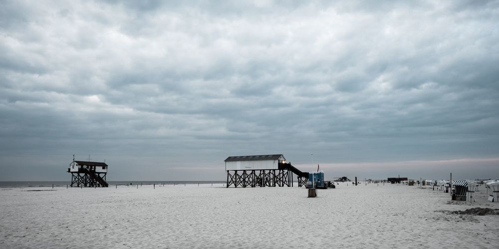 St. Peter Ordning Tranquil Scene Tranquility Clouds Cloudy Strand Beach St. Peter-Ording Sky Cloud - Sky Sea Land Beach Water Sand Nature Beauty In Nature Hut Day Horizon Over Water Horizon Outdoors