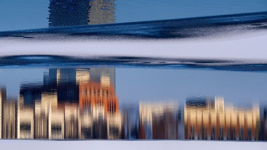 Allianztower Berlin Photography Cityscape Ice Puddleography Reflection Rummelsburger Bucht Abstract Berliner Ansichten Day In Ice No People Outdoors Water Waves